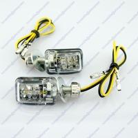 4x Motorcycle Stalk Turn Signal Light Indicator Blinker Mini 6 LED Amber Black Free shipping