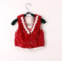 Free shipping Baby girls lace fur vest Children's fur waistcoats Princess lace fur vest Kids sleeveless coats & jackets