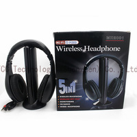2014 New 5 in 1 HiFi Wireless Headphones Earphones Headset FM Radio Monitor MP3 PC TV CDDVD Audio Mobile Phones