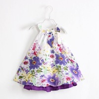 2014 New Baby Girl Summer Strap Dress Vest Dress Bowknot Flowers Dress Kid Fashion Rural Style Dress 6 pcs/lot