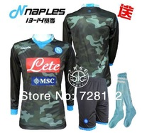 New 13/14 Army Military Green Napoli away Camo Long sleeve Soccer jersey+sock,#9 HIGUAIN #17 HAMSIK Football Jersey uniform+sock