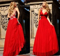 New Collections Designer Sexy A Line Empire Long Red Tarik Ediz Formal 2014 Red Prom Dress