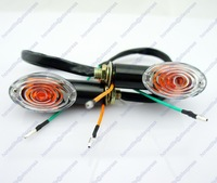 4x Motorcycle Oval Turn Signal Light Indicator Blinker Bulb Mini Amber Black Free shipping