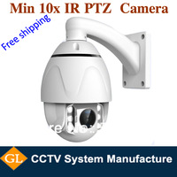 free shipping 10X Optical zoom high speed dome camera, 60meters , 4.0inch ptz cctv camera