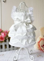 Free Shipping Promotion*Luxury White Party Wedding Dog clothes Princess Pet Clothes Dress ,XS,S.M,L,XL