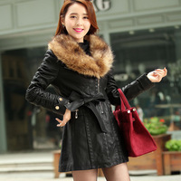 2013 winter women's medium-long plus cotton PU clothing fur collar leather wadded jacket plus size slim trench