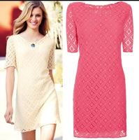 Spot wholesale 2014 new European and American women's double vintage lace mini dress short-sleeved dress