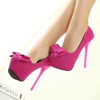 2014 hot sale rushed yes eva women bow candy color ultra high heels pumps single shoes  princess women's fuchsia plus size 34-40