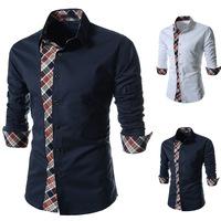 Free Shipping 2014 New Fashion Casual Grid Long-sleeved Mens Leisure Styles Slim Fit Shirt