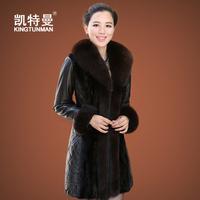 new for spring Genuine leather clothing 2013 sheepskin down coat medium-long female fox fur women's slim plus size outerwear