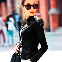 2014 spring slim short jacket zipper women's leather jacket short elegant design leather clothing
