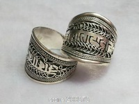 R154  Tibetan White Metal Copper Antiqued silvertone Amulet Ring, Tibet Man OM MANI PAD ME HUM Rings Open ring
