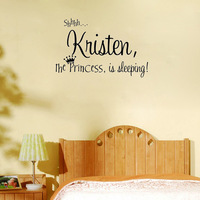 Personalized Princess Name Cute Decor - Wall Say Quote Word Lettering Art Vinyl Sticker Decal Home Decor Words