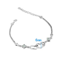 Heart Cubic Zirconia Bracelets & Bangles For Women  #BA100540 Fashion Jewelry Gifts 925 Stering Silver Lady Bracelets