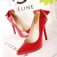 Tianyi 11cm heel pointed toe bow high-heeled single shoes red wedding shoes 347