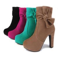 Winter Flock Zipper High Heeled Shoes Elegant Non Slip Pure Color Bowtie Pumps SHL5240