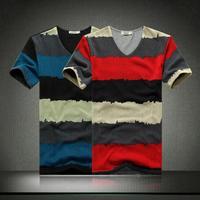 Free Shipping 2014 men's v-neck shirt bottoming Korean men's new short-sleeved striped T-shirt printing 6868