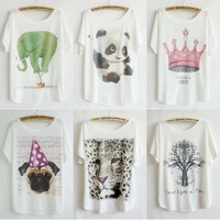 C series 10pcs mix order Wholesale 2014 New T Shirt Women Clothing Cartoon Printed Short Batwing Sleeve Tops Dropship