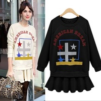 2014 New Women Casual Spring Autumn O-Neck Print Dress Black + Beige Free Shipping