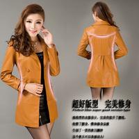 2014 spring genuine leather clothing women's medium-long slim leather trench sheepskin leather coat