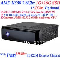 htpc mini itx pcs with HDMI ATI HD4200 integrated graphics RS880M SB820M Express AMD N550 2.6GHz dual-core CPU 1G RAM 16G SSD
