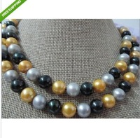 classic free earring south sea 8-9mm black gold gray AA+ pearl necklace 35' 14k