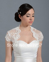 2014 Beautiful Wedding Bolero Jacket  Short Sleeves White Ivory Alencon Lace Bridal Jacket  J1419