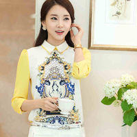 2014 New   Women Sweet Doll chiffon shirt collar hedging Free Shipping