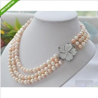 WHOLESALE 3 Row 8-9mm AKOYA WHITE PINK PEARL NECKLACE FLOWER CLASP