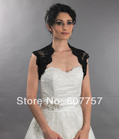 2014 Beautiful Wedding Bolero Jacket  Short Sleeves Black Alencon Lace Button Bridal Jacket  J1421