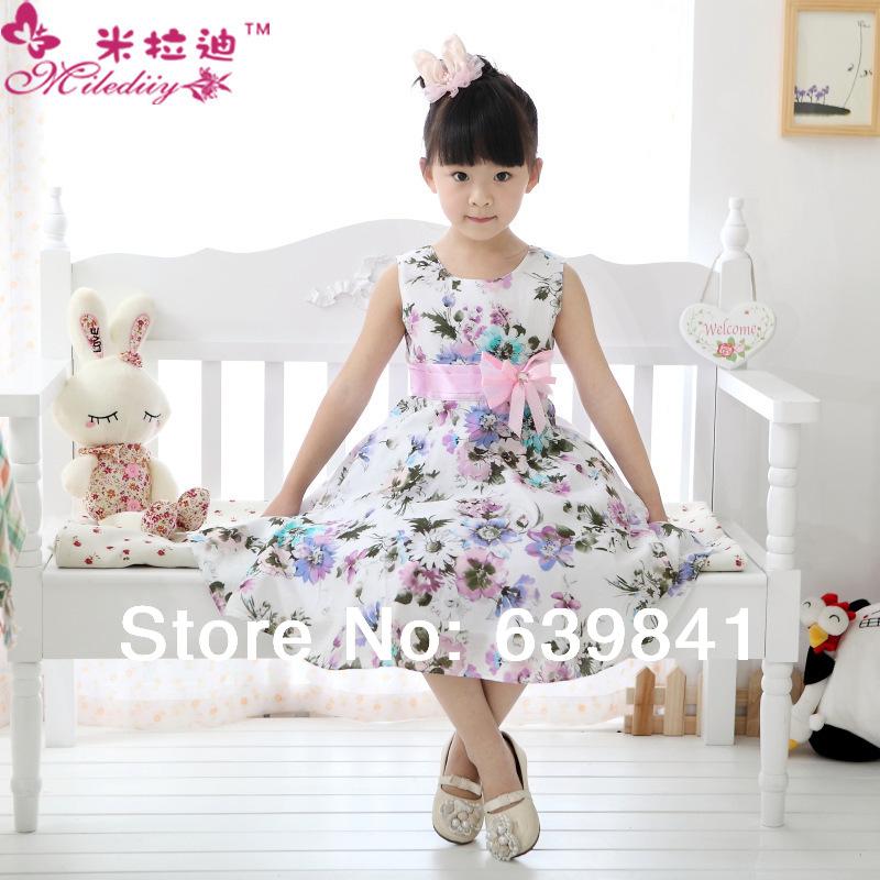 Retail 2014 new summer flower girl dress kids party dresses girl cotton children dress girls Princess 2-13y 1366#(China (Mainland))