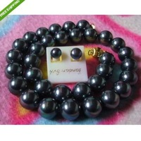 "HUGE BeautifulAAA 11-12MM BLACK TAHITIAN PEARL NECKLACE EARRING 18""+ BOX"