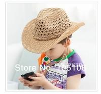 Children Cowboy hats teenager caps handmade straw hat Fashion Kid's Summer Cap brown khaki coffee mix color