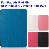 DHL EMS Free Shipping 100pcs/Lot Solid Colour PU Case Magnetic Smart Cover For iPad Air New iPad Mini 2 Retina IPAD 2 3 4 5