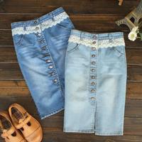 2013 New fashion Sweet lace single breasted denim slim hip bust skirt high waist slim split jean  skirt ~WDgh112605