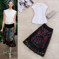 2014 spring and summer fashion white top vintage print skirt set female