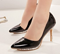 Hot 2014 Spring High-Heeled Single Shoes Female Toe Pointed Shallow Mouth Japanned Leather Platform Thin Heels Women High-Heeled