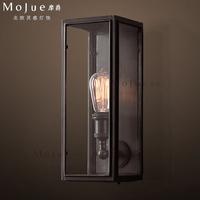 Rh loft fashion brief modern bedside crystal box wall lamp