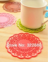 Free shipping Creative Home sweet vintage lace coasters translucent hollow silicone pad / heat coasters