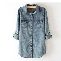 Free shipping New Women Vintage Color Denim Stylish Blouse Women Top Shirt S M L