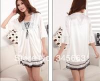 New arrival Sexy Women Twinset Lace Pajama Set Strap Sleep Night Dress Nightwear Sleepwear White free shipping #AN3