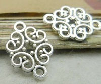 Filigree hollow out charm connector with 2 holes- 14x19mm, antique silver, wholesale