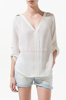 Hot Lady V-Neck Rivets Studs Trim Sleeve Pullover Chiffon Shirt women Top Blouse Free Shipping