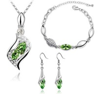2014 New 2014 hot sale Fashion Popular rhinestone horse eye Crystal Earrings Necklace Bracelet three set jewelry sets wholesale