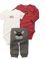 BB094 Free Shipping Carter baby boys stripe bodysuit +bodysuit +pants 3pcs clothing set cotton children suit kids clothes retail