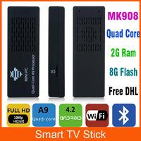 Mk908 RK3188 Mini PC Quad Core Android 4.2 TV Stick with Bluetooth Media player XBMC Youtube Full HDMI 1080P 2GB RAM 8GB Rom
