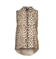 Women Blouse Sexy Leopard Print Dovetail Sleeveless Chiffon Shirts Plus Size Tops Fashion 2014 Clothing Camisas Femininas