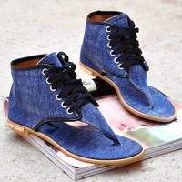 Women sandals denim flat women's flip-flop shoes high fashion sweet sandals blue