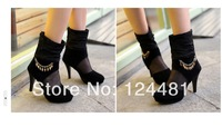 2014 fashion cheap free shipping new black sexy lace women's boots breathable metal chain heels