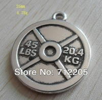 Free Shipping 100pcs a lot  fashion design 45 lbs and 20.4 kg weight plate weightlifting charms(rb15518)